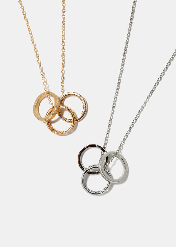 3-Ring Pendant Chain Necklace