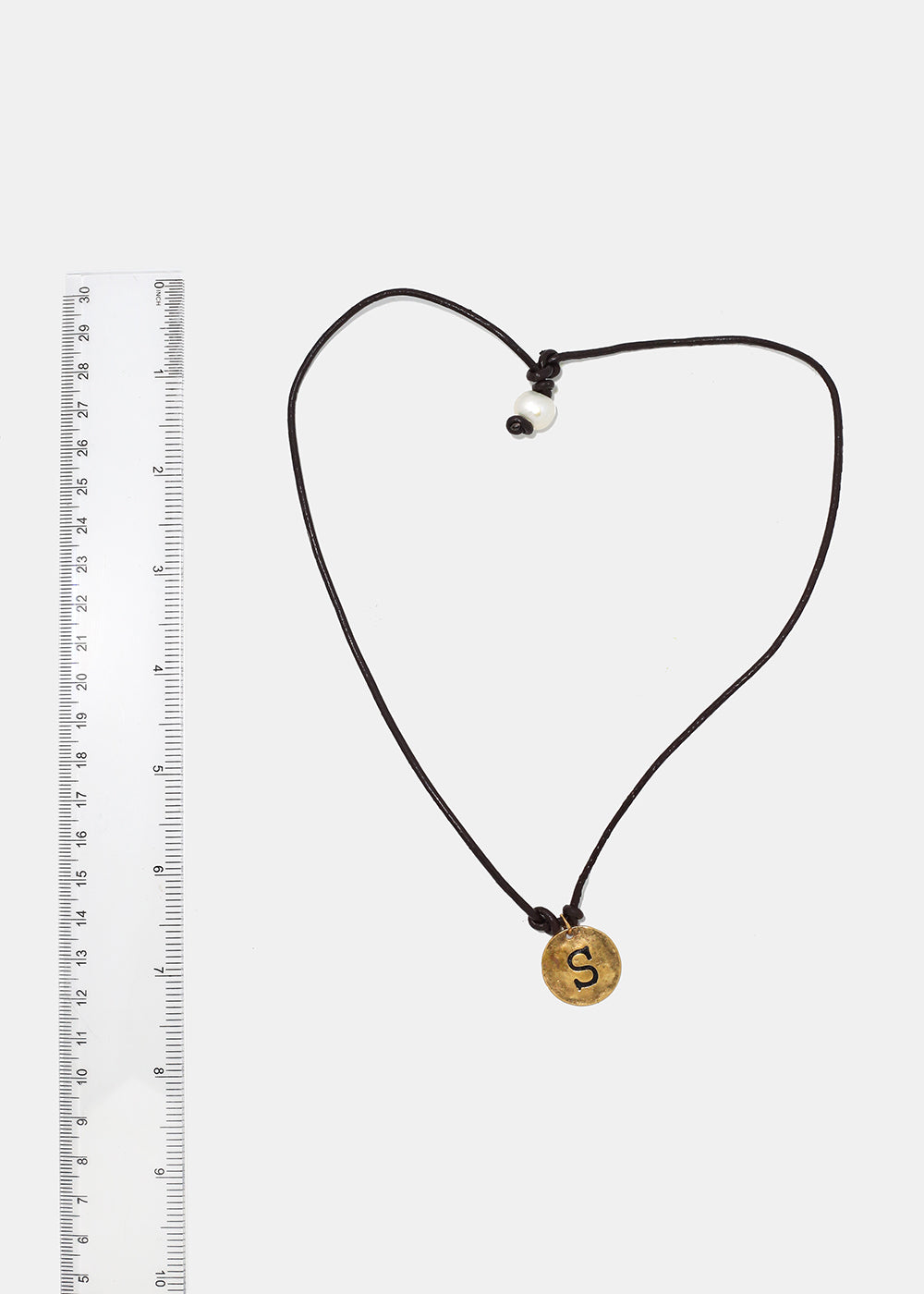"Faux Leather ""S"" Initial Necklace"