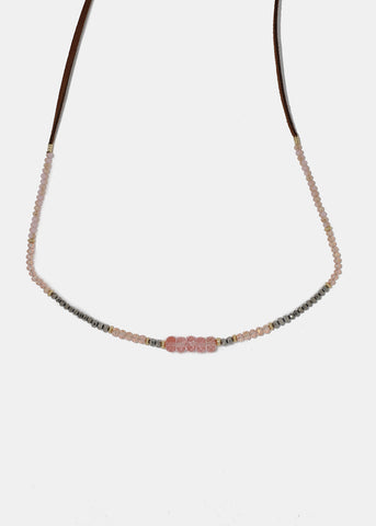 Layered Suede Bead Choker - Pink