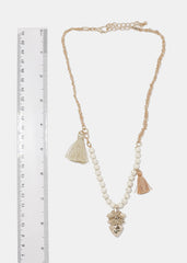 Beige Arrowhead & Tassel Necklace