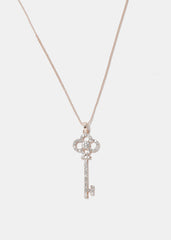 Rose Gold Rhinestone Key Necklace