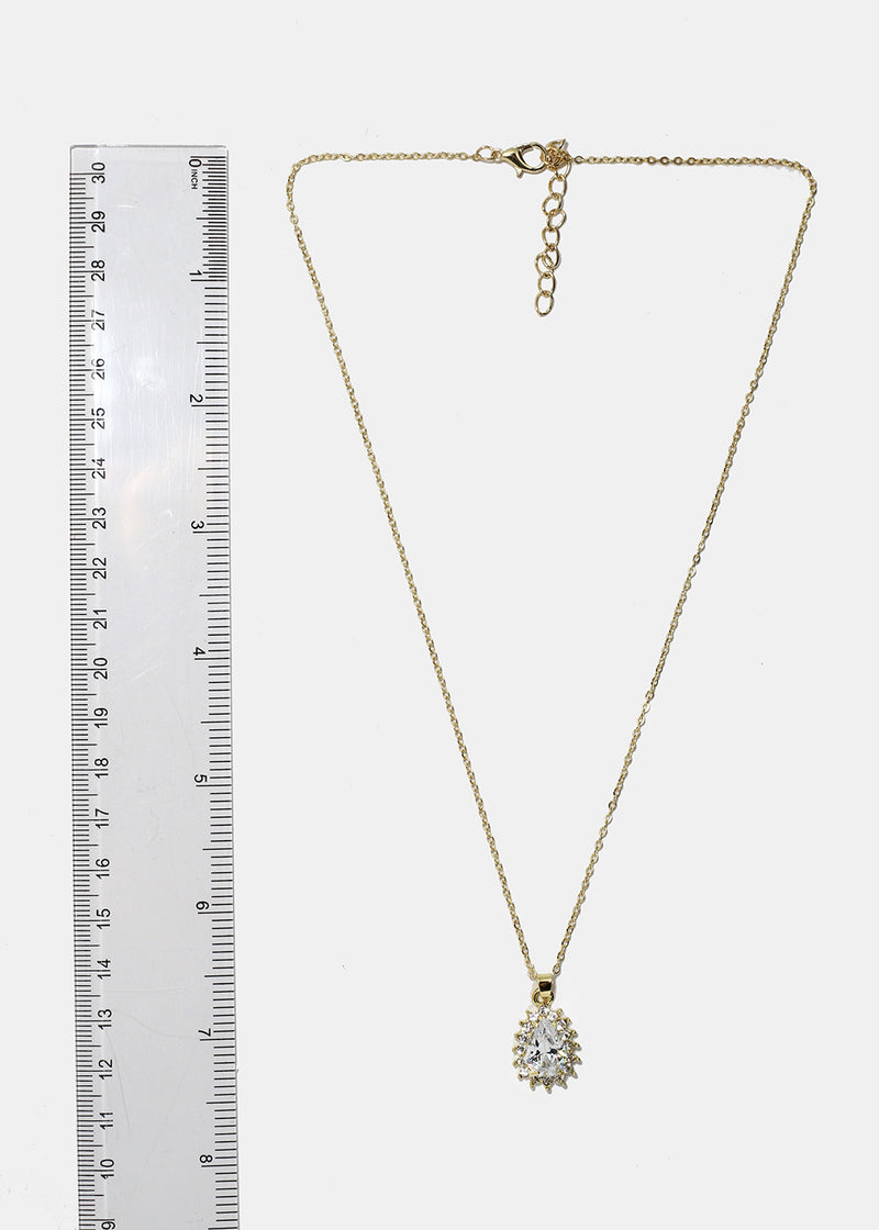 Teardrop Rhinestone Pendant Necklace
