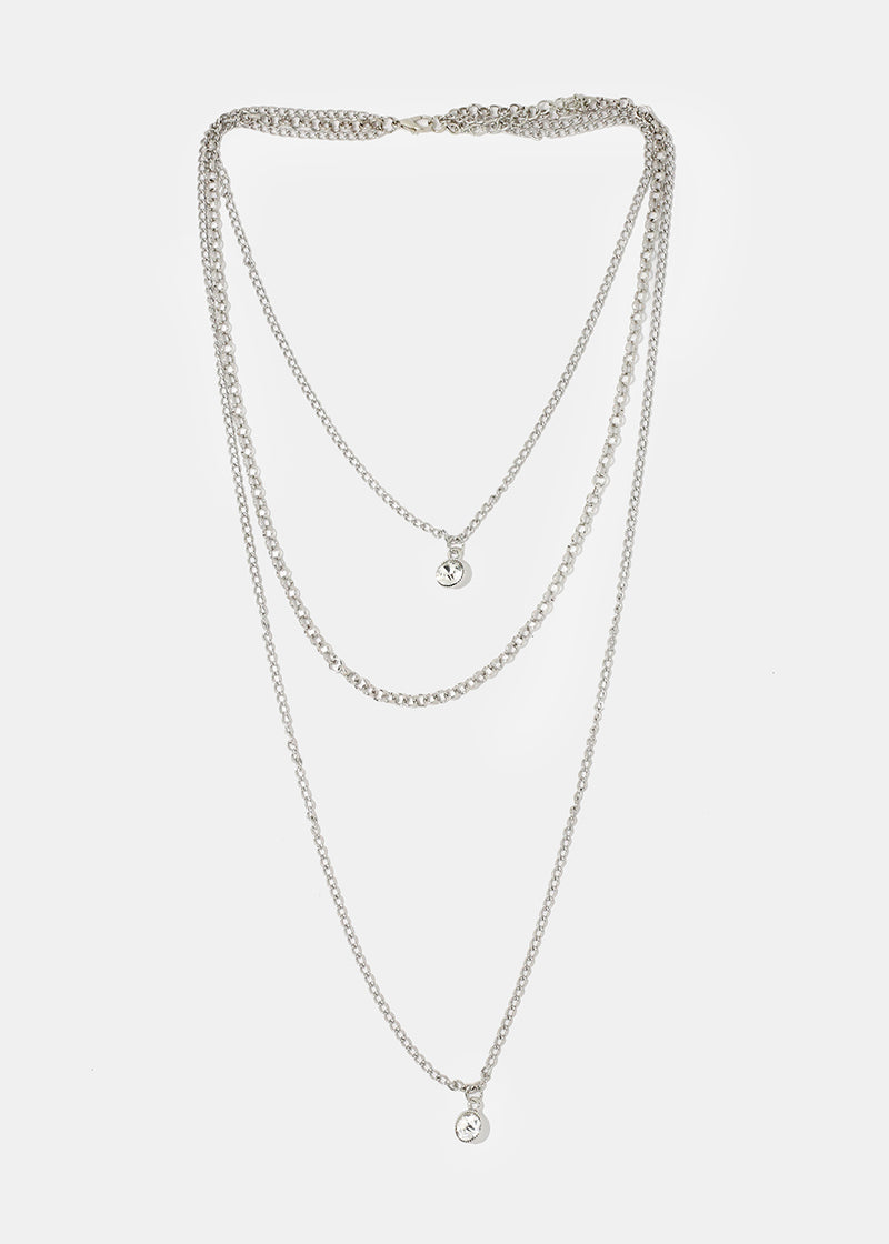 Layered Rhinestone & Pearl Pendant Necklace