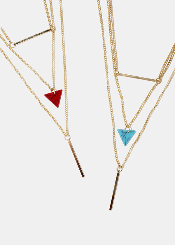 Layered Triangle & Bar Pendant Necklace