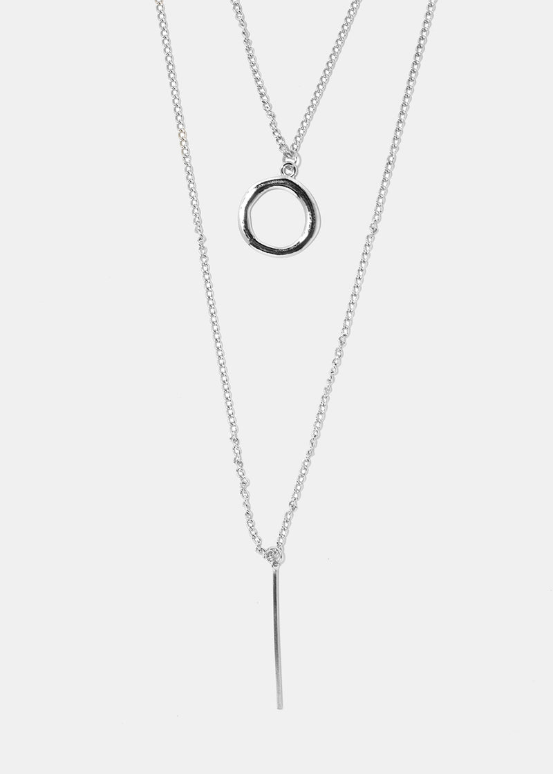 Layered Ring & Bar Pendant Necklace