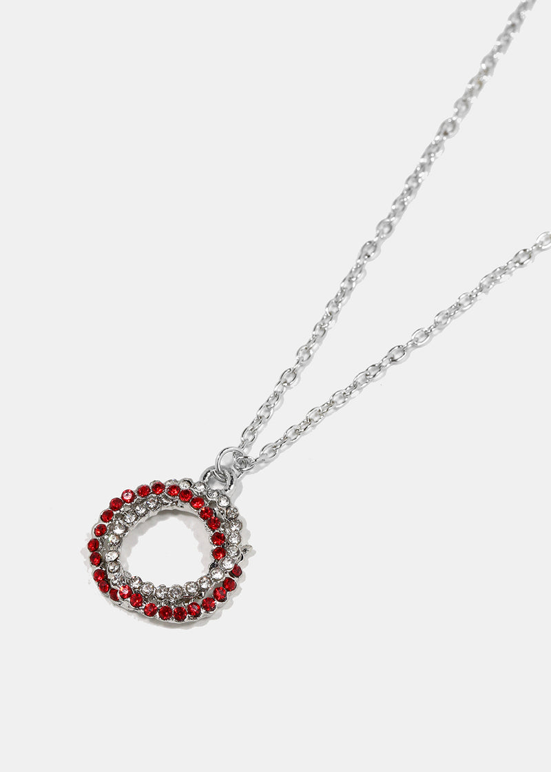 Layered Rhinestone Circle Pendant Necklace