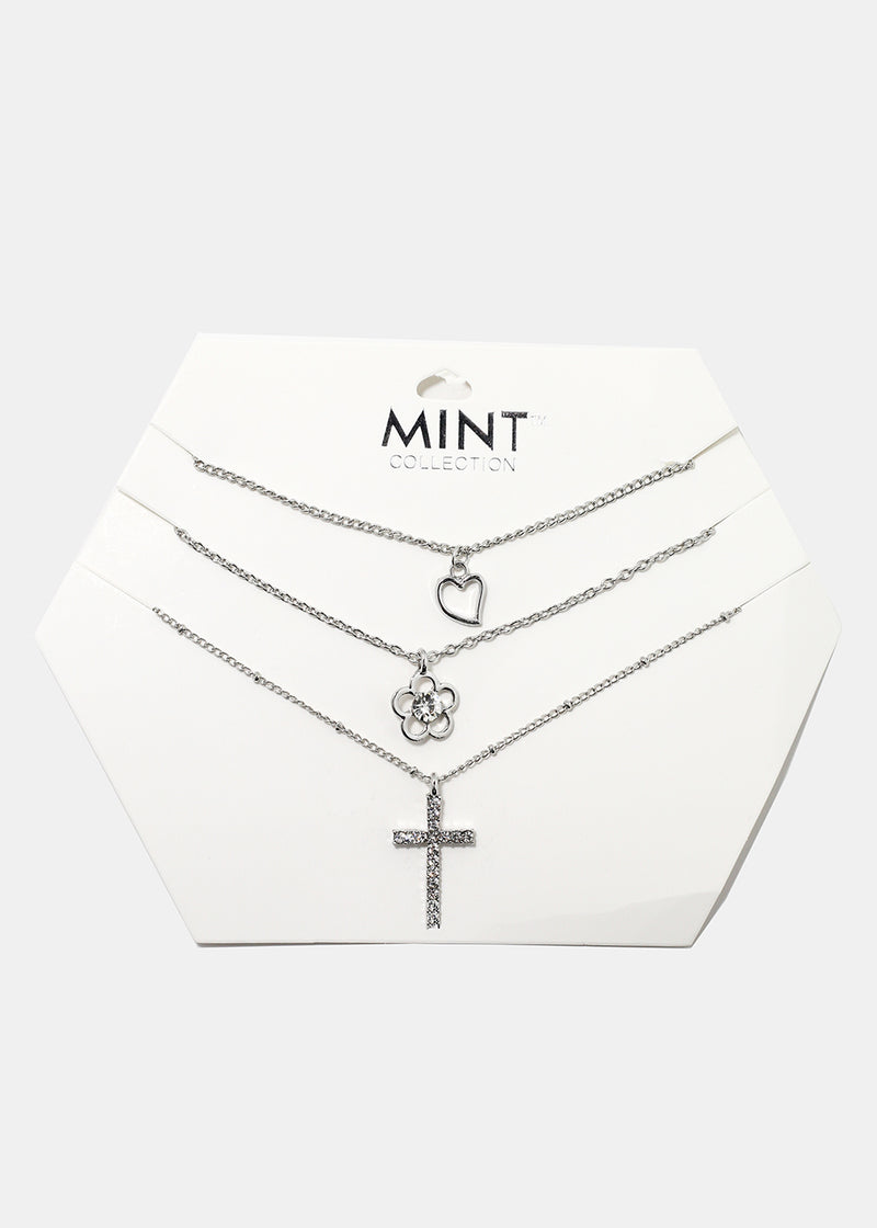 3-Piece Cross Multi Pendant Necklace