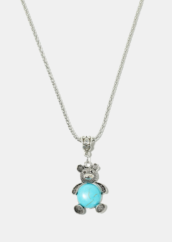 Turquoise Teddy Bear Necklace