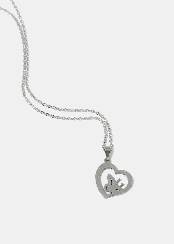 Butterfly in Heart Chain Necklace