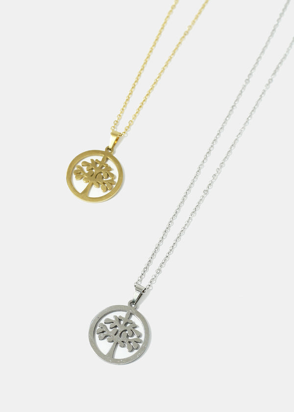 Tree in Circle Chain Necklace