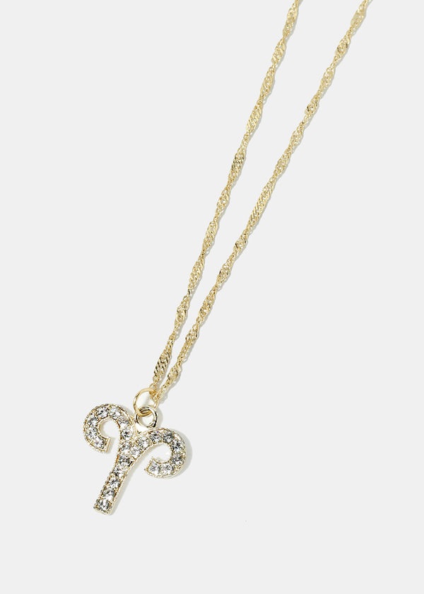 Rhinestone Studded Aries Necklace