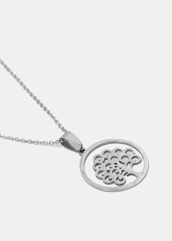 Tree in Circle Pendant Necklace