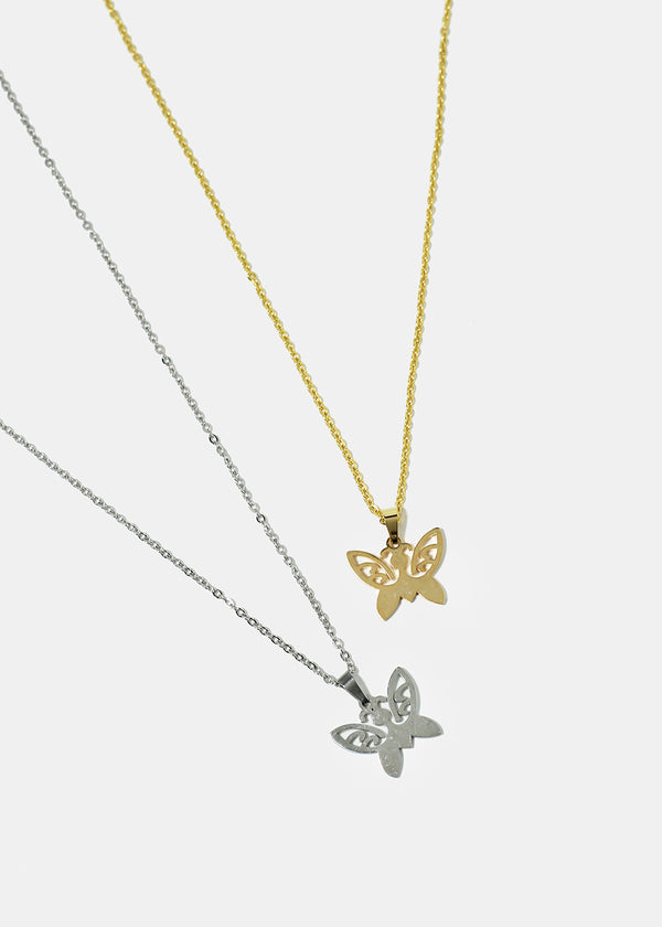Detailed Butterfly Pendant Necklace