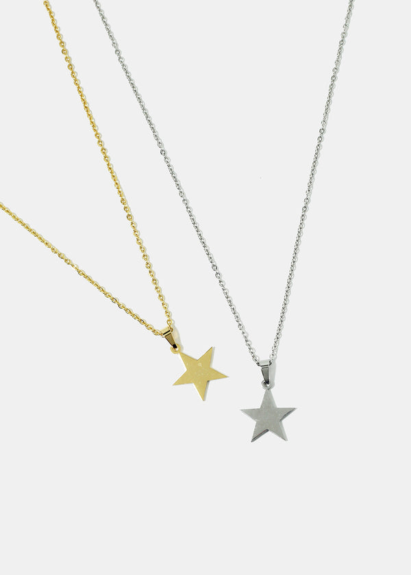 Smooth Star Pendant Chain Necklace