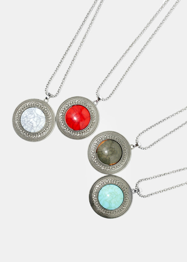 Stone Circle Pendant and Earring Set