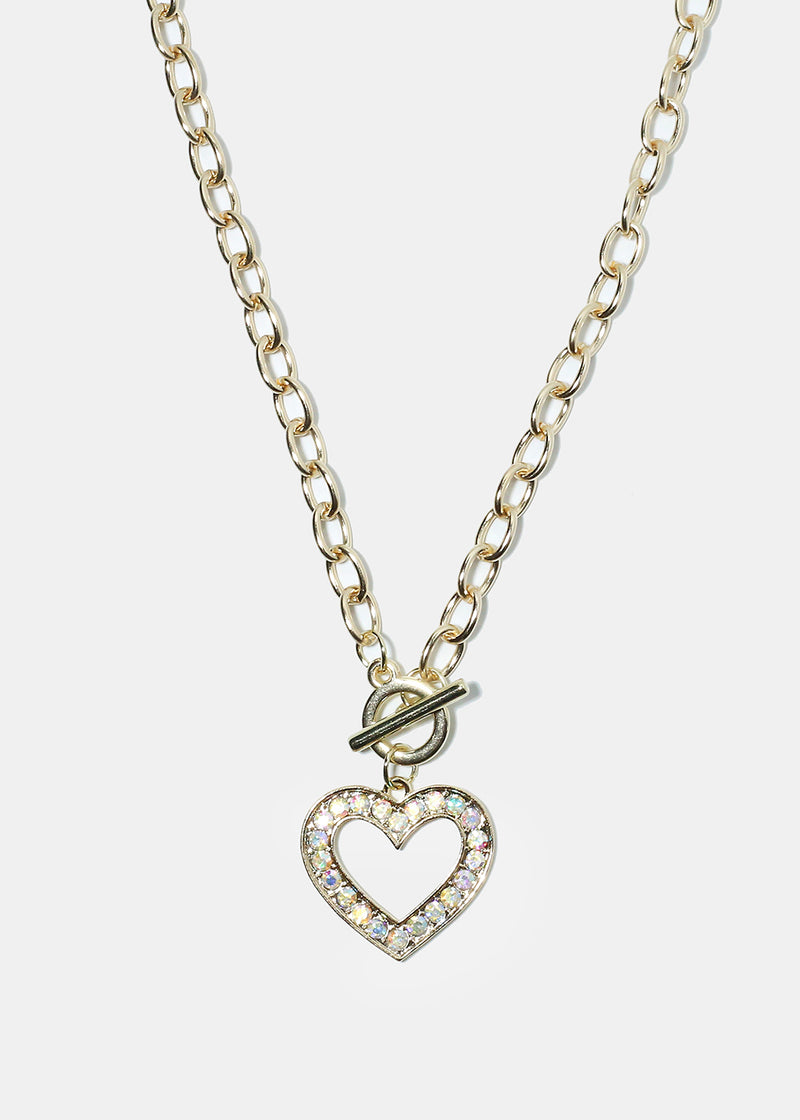 Rhinestone Studded Open Heart Chain Necklace