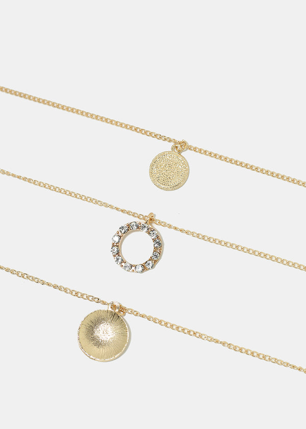 Triple Layered Circle Pendant Necklace