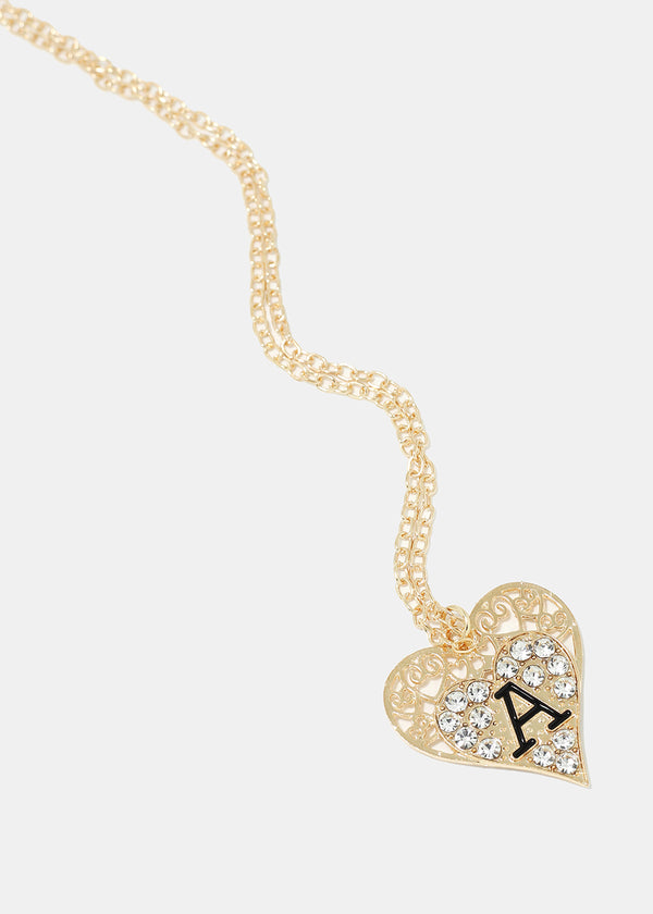 Heart Initial Pendant Chain Necklace