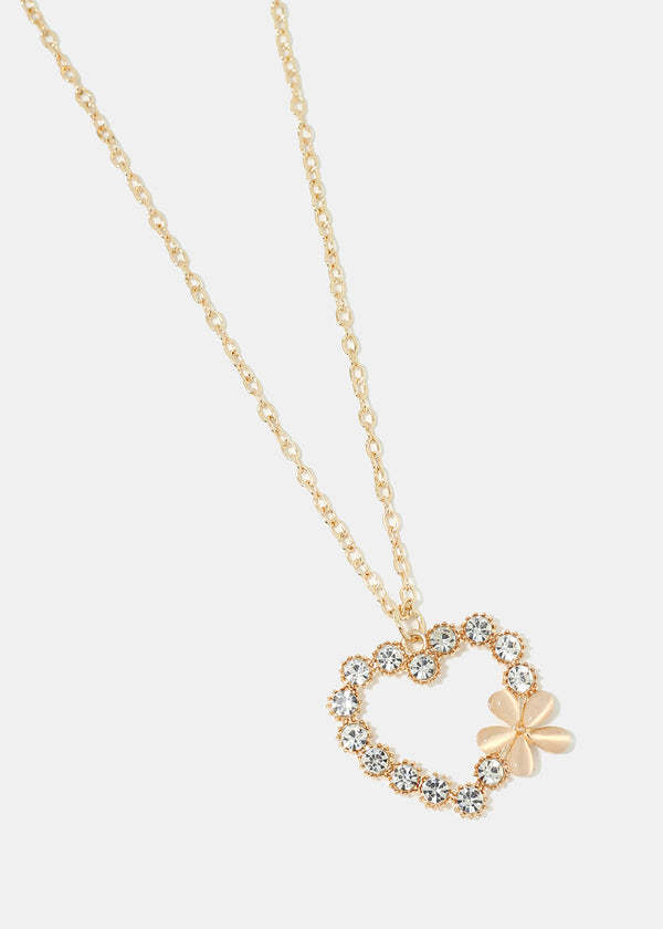 Rhinestone Heart & Circle Pendant Necklace