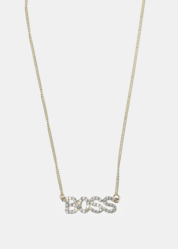 "Rhinestone ""BOSS"" Pendant Necklace"