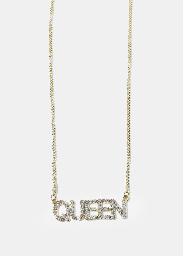"Rhinestone ""QUEEN"" Pendant Necklace"