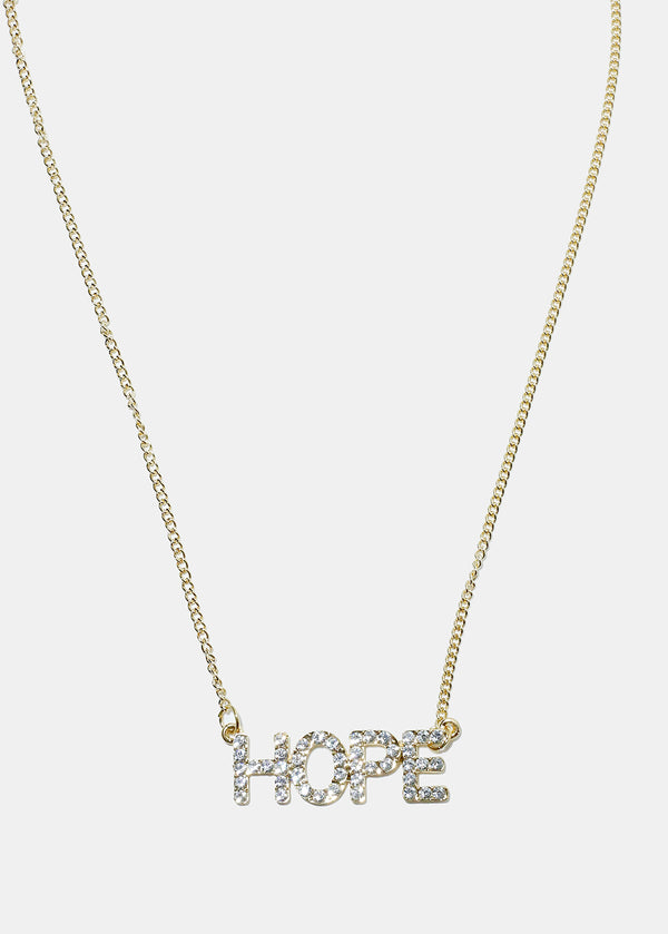 "Rhinestone ""HOPE"" Pendant Necklace"