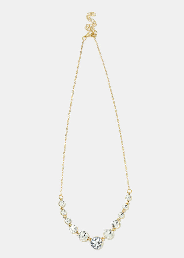 Rhinestone Gems Chain Necklace