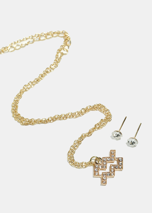 Rhinestone Studded Zodiac Sign Gold Necklace