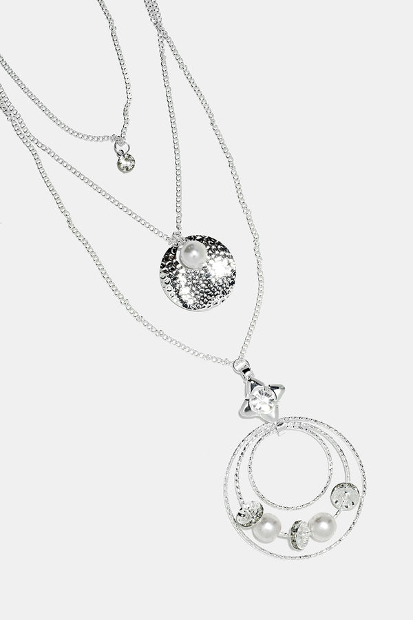 Circle & Pearl Chain Necklace