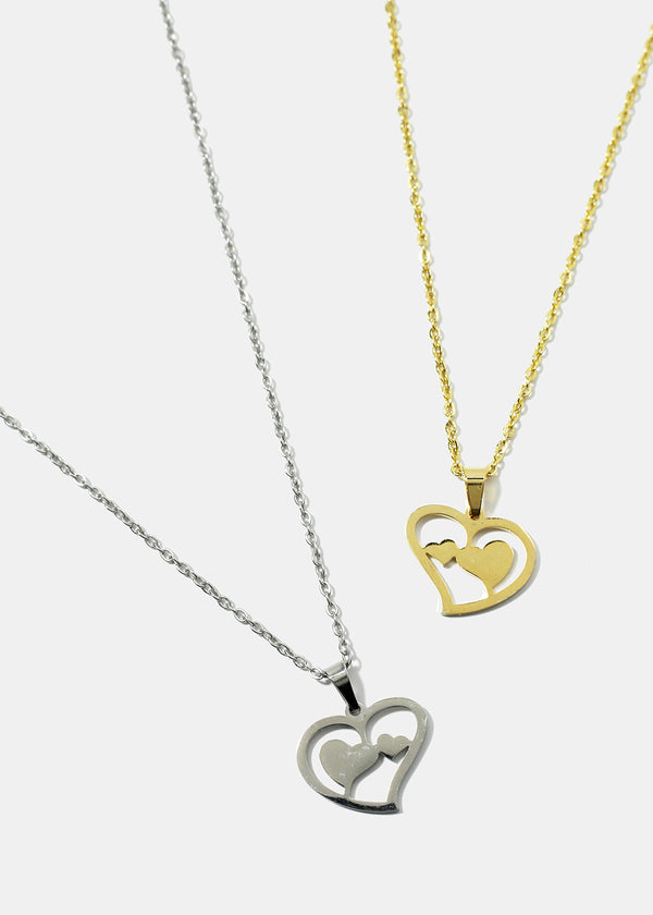 Double Heart in Heart Necklace