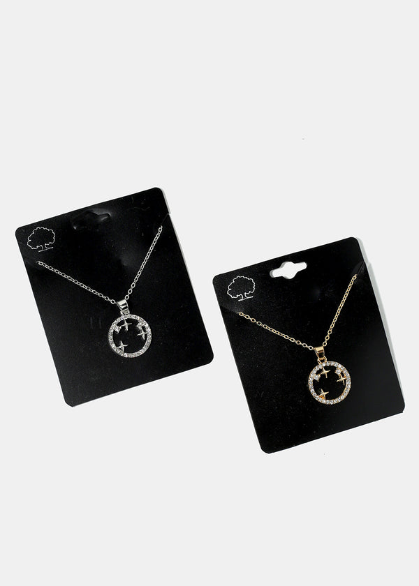 Circle & Stars Necklace