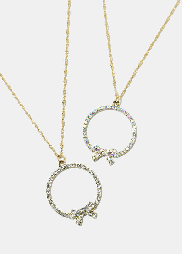 Circle With Bow Necklace