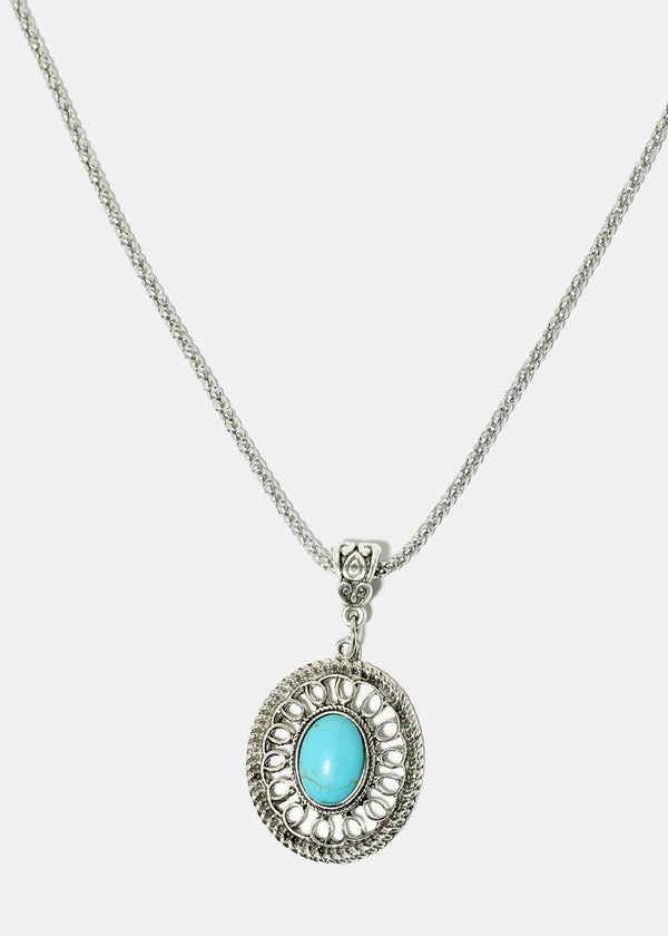 Circle Turquoise Stone Necklace