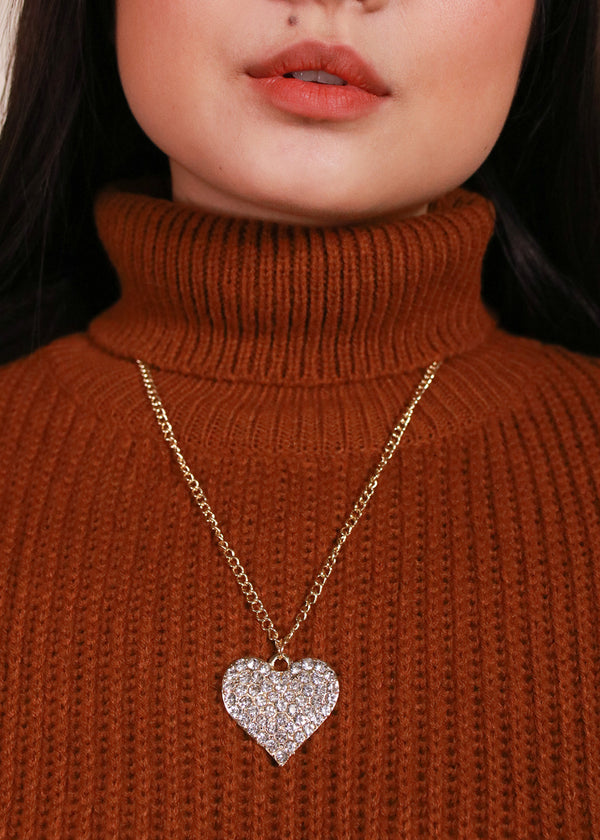 Rhinestone Heart Necklace & Earrings Set