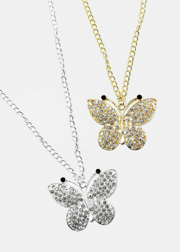 Rhinestone Butterfly Necklace & Earring Set