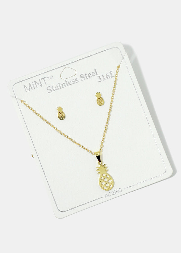 Pineapple Necklace & Earring Set