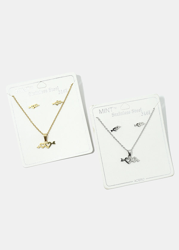 Double Heart Necklace & Earring Set