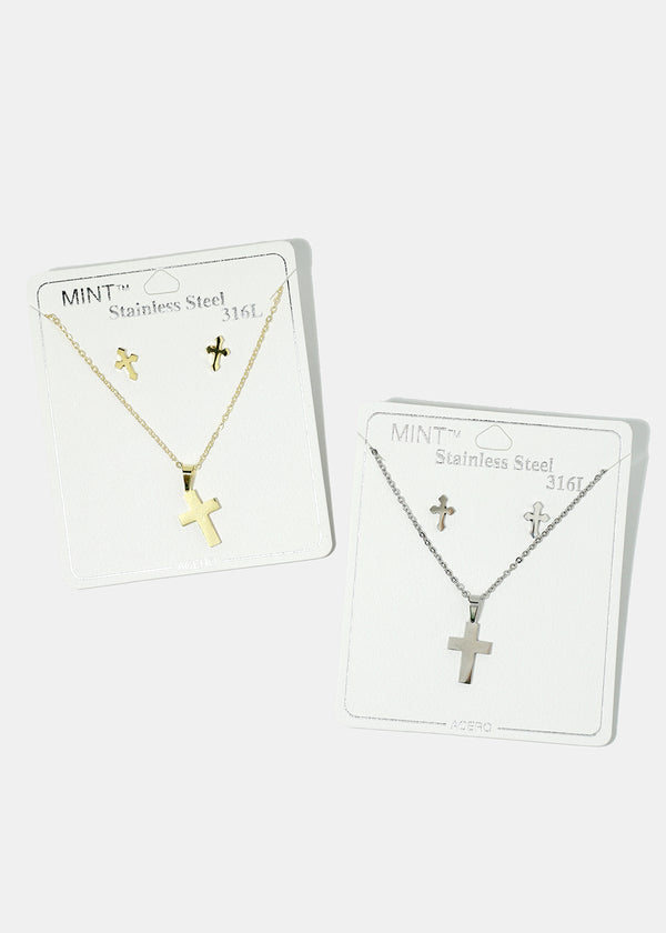 Cross Necklace & Earring Set