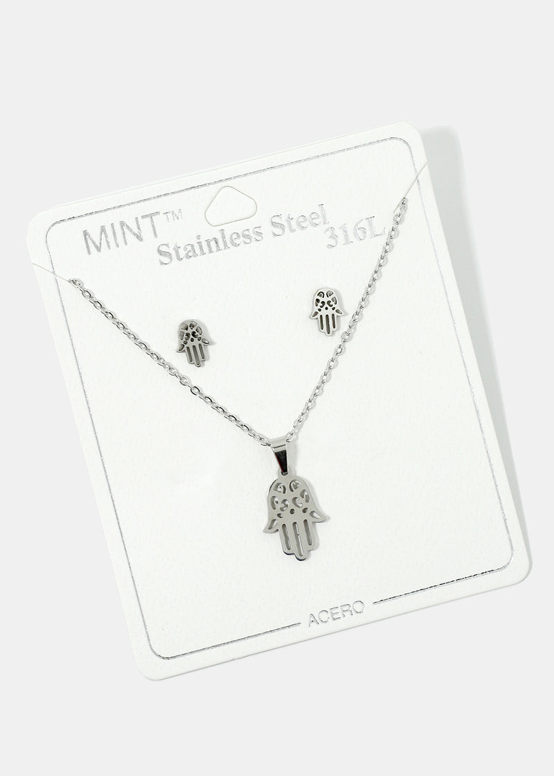 Hamsa Hand Necklace & Earring Set