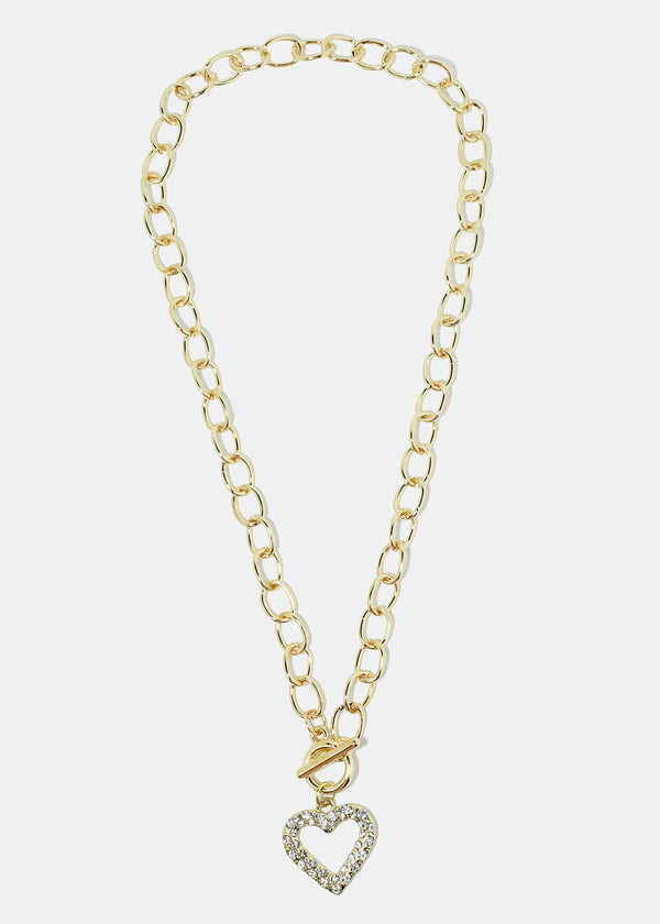 Gold Rhinestone Heart Chain Necklace