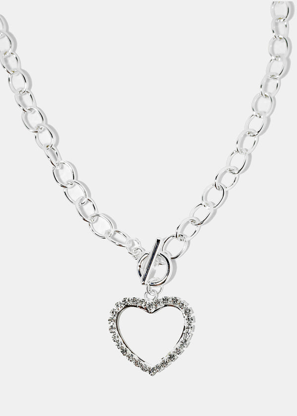 Silver Rhinestone Heart Chain Necklace