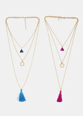 Layered Gemstone & Tassel Necklace