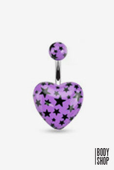 Surgical Steel Acrylic Heart with Multi Star Navel Ring - Lavender