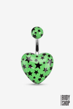 Surgical Steel Acrylic Heart with Multi Star Navel Ring - Green