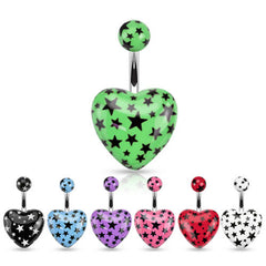 Surgical Steel Acrylic Heart with Multi Star Navel Ring - Black