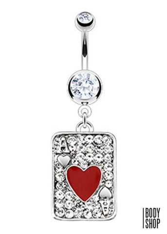 Red Heart Ace Poker Multi Paved Gem Card Navel Ring 316L Surgical Steel