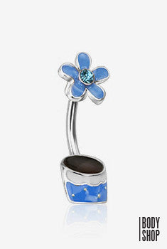 316L Surgical Steel Flower Pot Navel Ring - Aqua