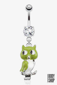Owl Epoxy Dangle with Double CZ Navel Ring 316L Surgical Steel-Clear