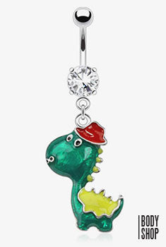 Dinosaur Epoxy with a Hat Navel Ringl - 14GA Clear