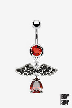 Vintage Wings with Gem Drop Dangle Navel Ring - 14GA Red